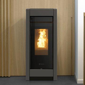Designový interiérový teplovodní kotel na pelety Thermorossi Aromy idra 13 Metalcolor