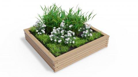 Vyvýšený dřevěný záhon 210x210 - čtvercový, velký